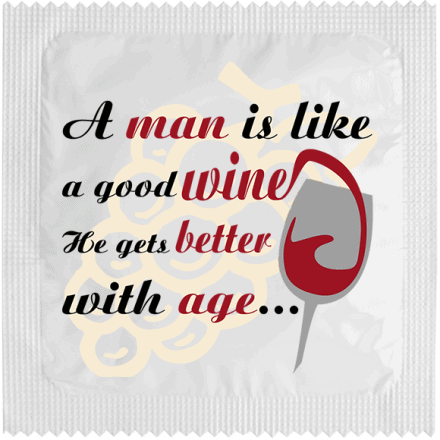 Préservatif A MAN IS LIKE GOOD WINE