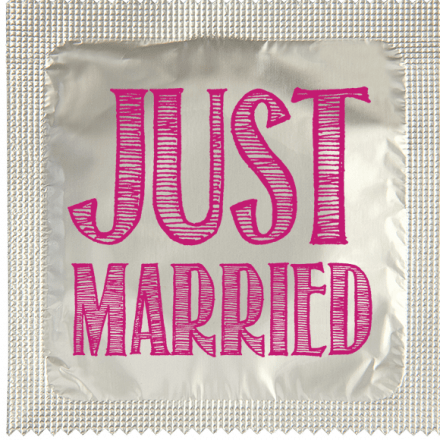 Condom JUST MARRIED LETTRAGE ROSE